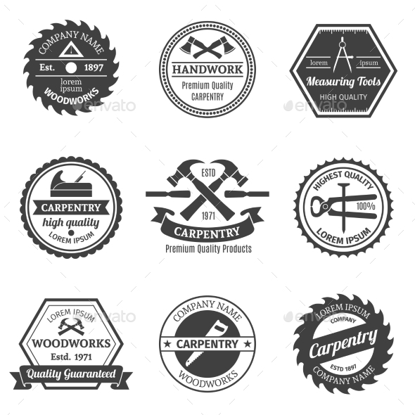 GraphicRiver Carpentry Emblems Set 9338647