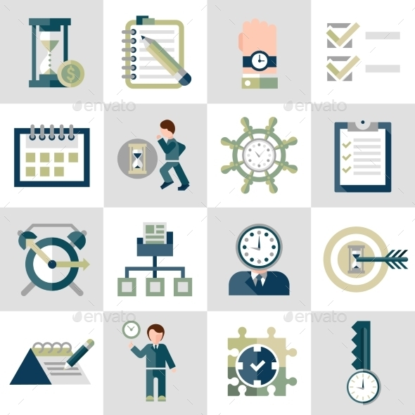 GraphicRiver Time Management Icons Set 9338745