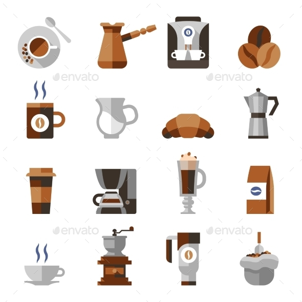 GraphicRiver Coffee Icons Flat Set 9338757