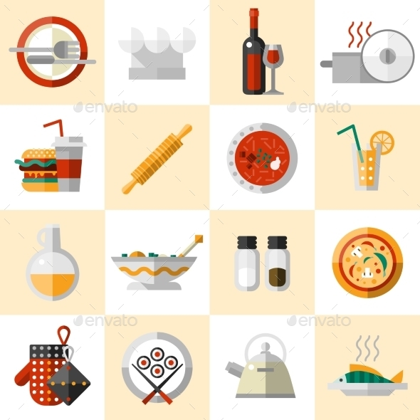 GraphicRiver Cooking Food Icons Set 9338762