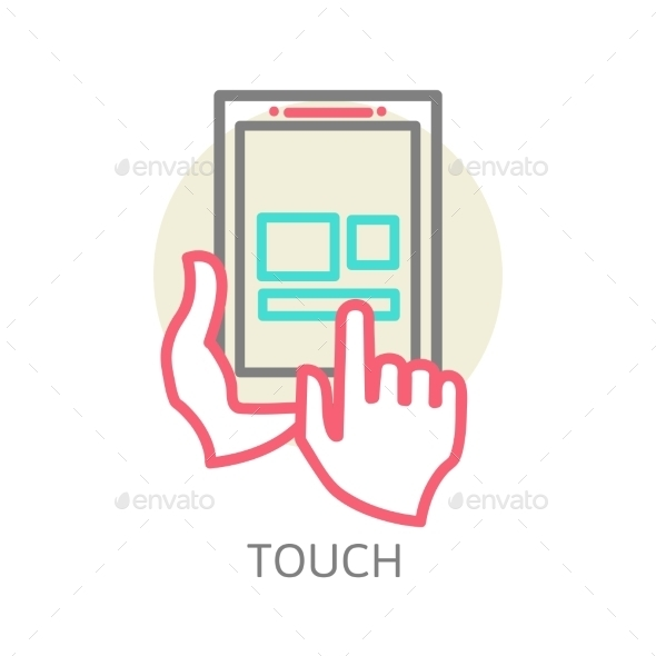 GraphicRiver Touch Screen Tablet PC Sign Icon 9338791
