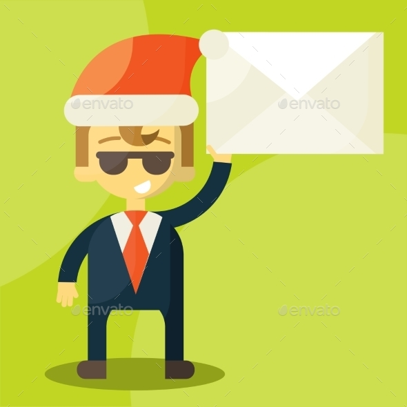 GraphicRiver Happy Businessman in Santa Claus Hat 9338799