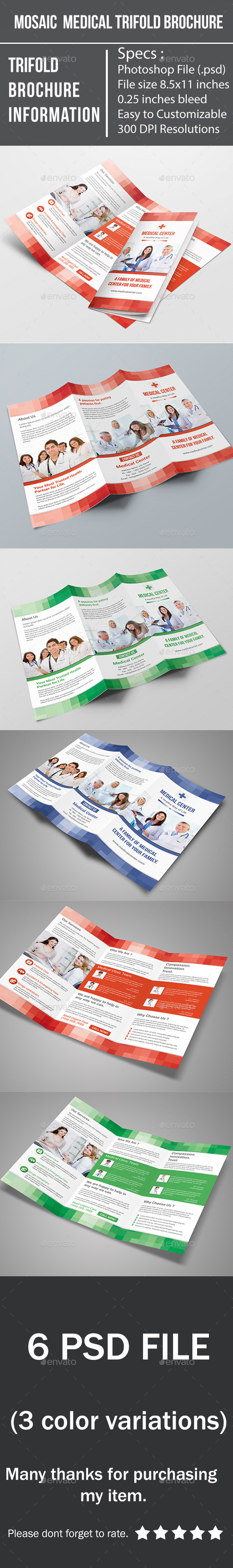 GraphicRiver Mosaic Medical Trifold Brochure 9338814