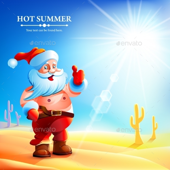 GraphicRiver Santa Claus Hot in Summer 9338862