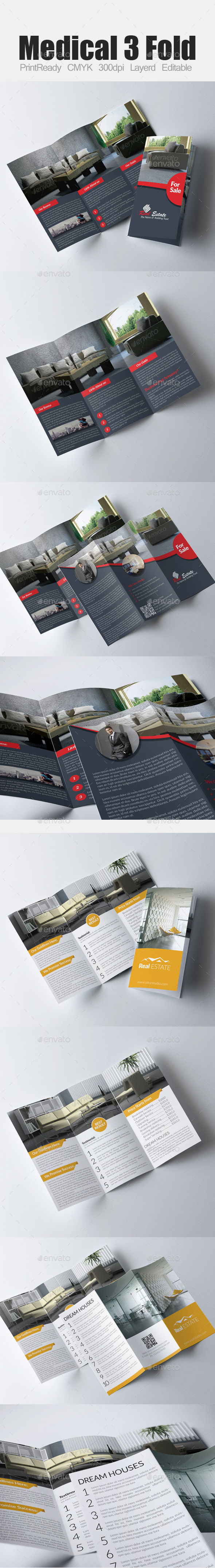 GraphicRiver Tri Fold Real Estate Bundle 9338899