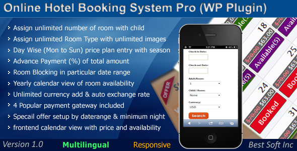 CodeCanyon Online Hotel Booking System Pro WordPress Plugin 9338914