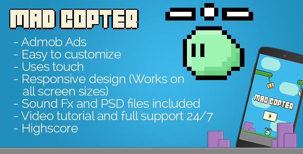Mad Copter with Admob - Avoidance Game + Interstitials + Leaderboards - CodeCanyon Item for Sale
