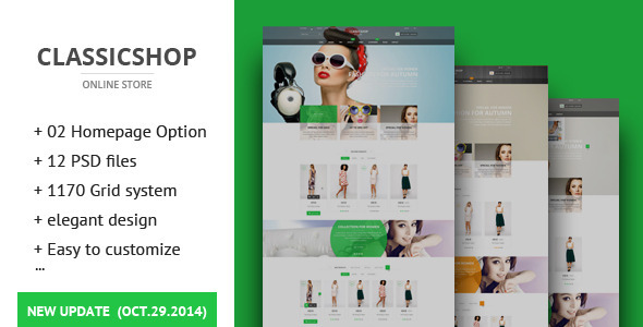 The Classic Shop - ecommerce PSD Template - Retail PSD Templates