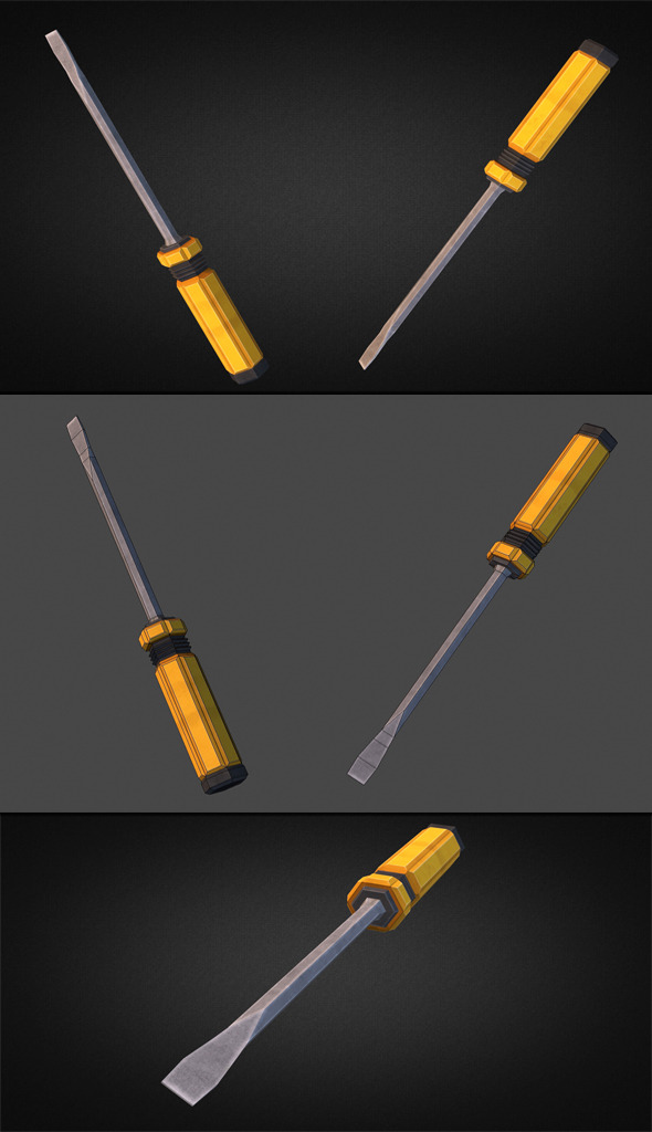 Screwdriver 3D Low Poly