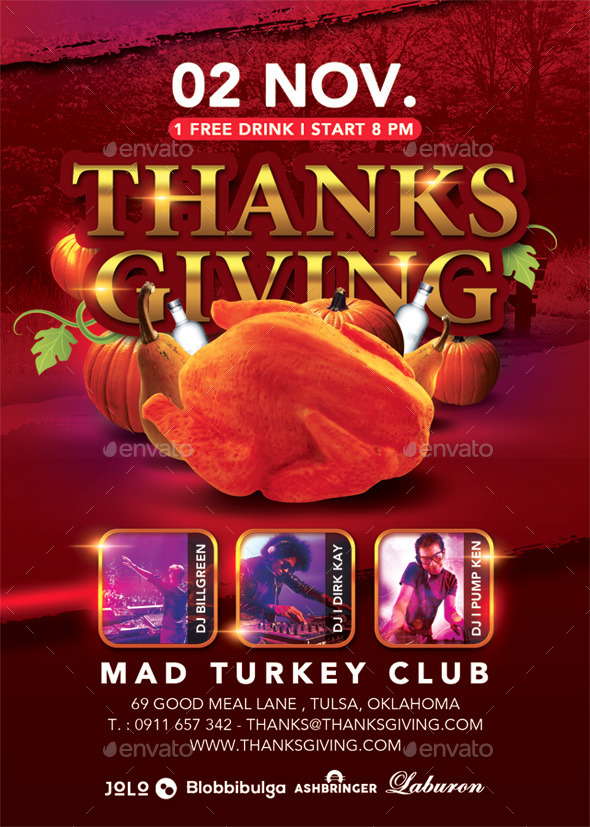 GraphicRiver Thanksgiving Special Party In Turkey Club 9340039