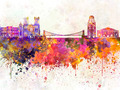 Bristol skyline in watercolor background - PhotoDune Item for Sale