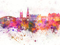 Blackburn skyline in watercolor background - PhotoDune Item for Sale