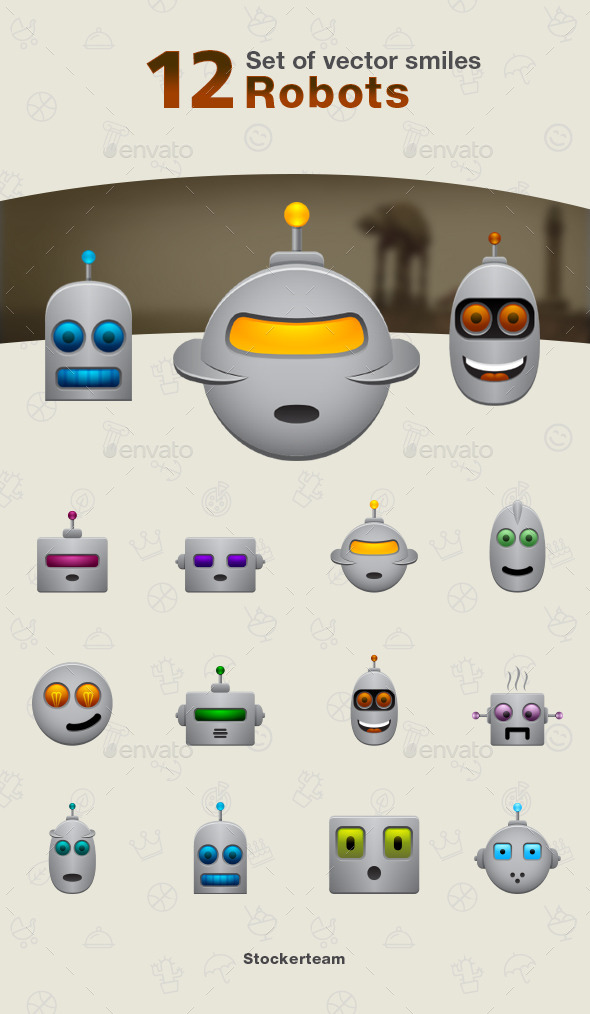 GraphicRiver Set of Robot Icons 9340139