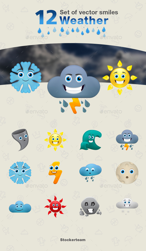 GraphicRiver Set of Weather Icons 9340218
