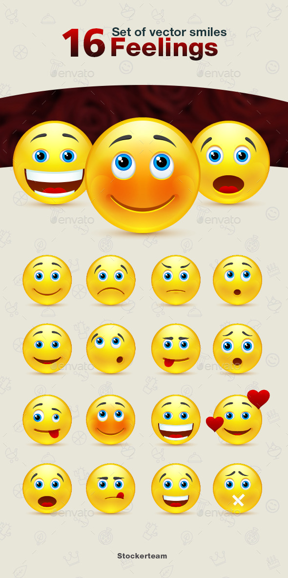GraphicRiver Set of Feelings Smiles 9340232