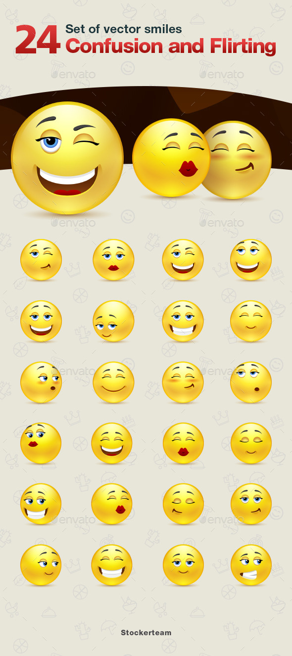 GraphicRiver Set of Confusion and Flirting Smiles 9340261