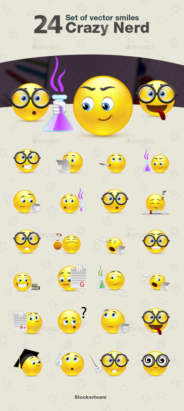 GraphicRiver Set of Crazy Nerd Smiles 9340309