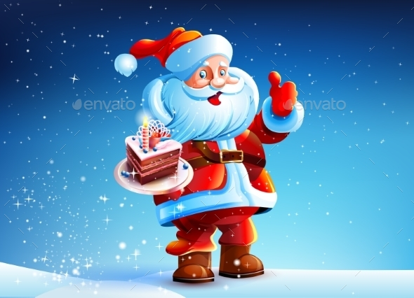 GraphicRiver Cake in the hands of Santa Claus 9340464