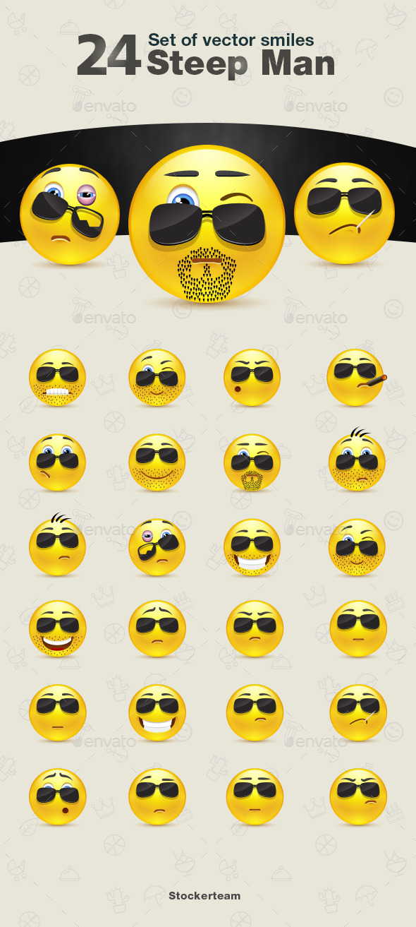 GraphicRiver Set of Steep Man Smiles 9340533