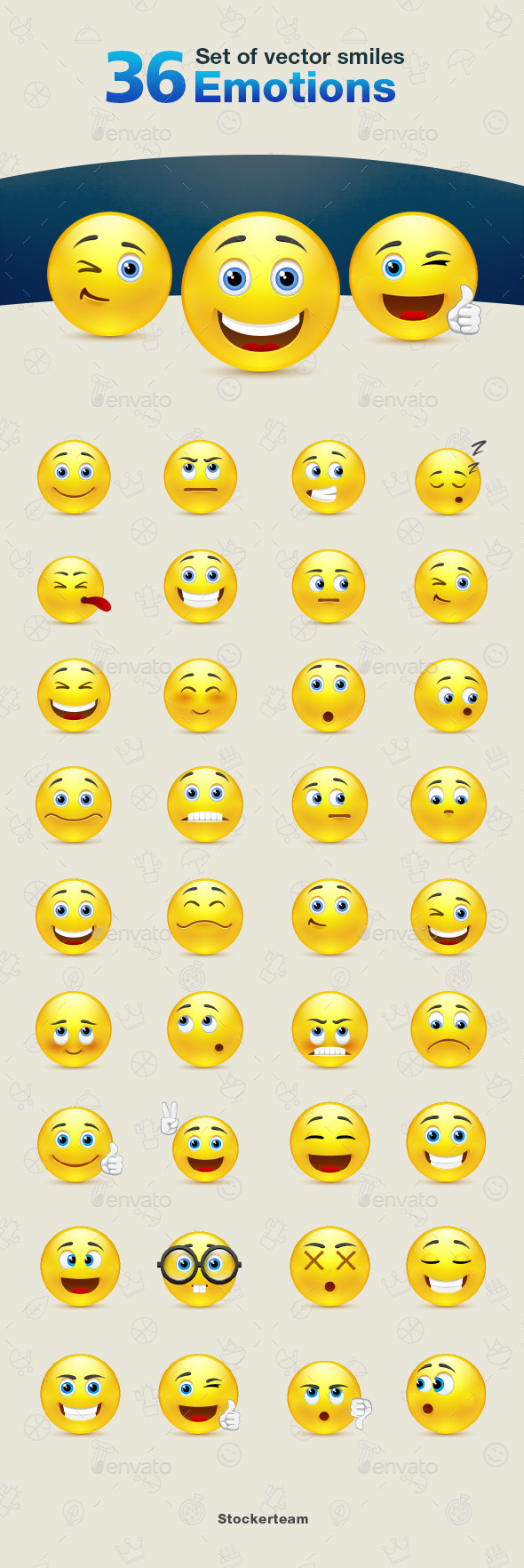 GraphicRiver Set of Emotions Smiles 9340631
