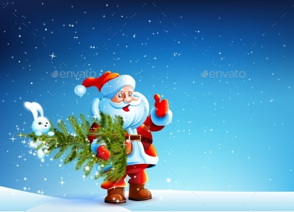Santa Claus Standing in Snow with a Tree