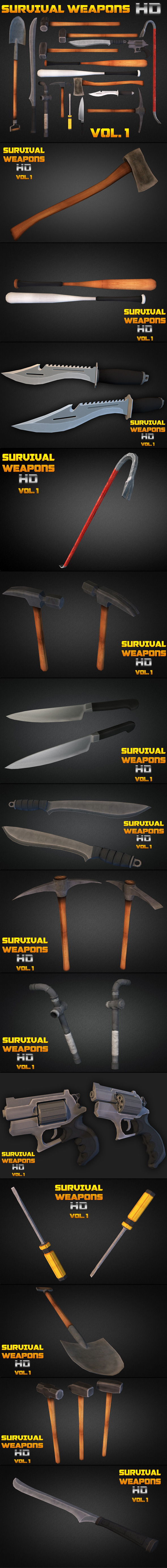 3DOcean Survival Weapons HD Vol 1 Low Poly 9340793