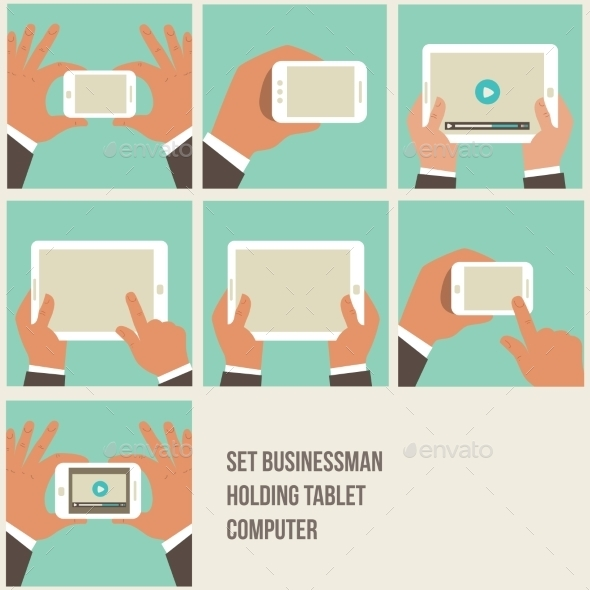 GraphicRiver Flat Hands Holding Devices Icons 9340870