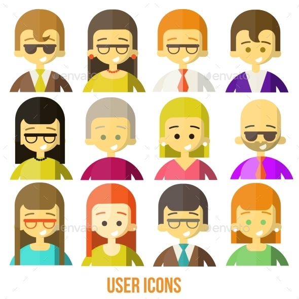 GraphicRiver Colorful People Faces Circle Icons Set 9340873