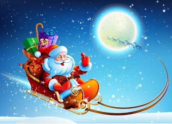 GraphicRiver Santa Claus in a Sleigh 9341277