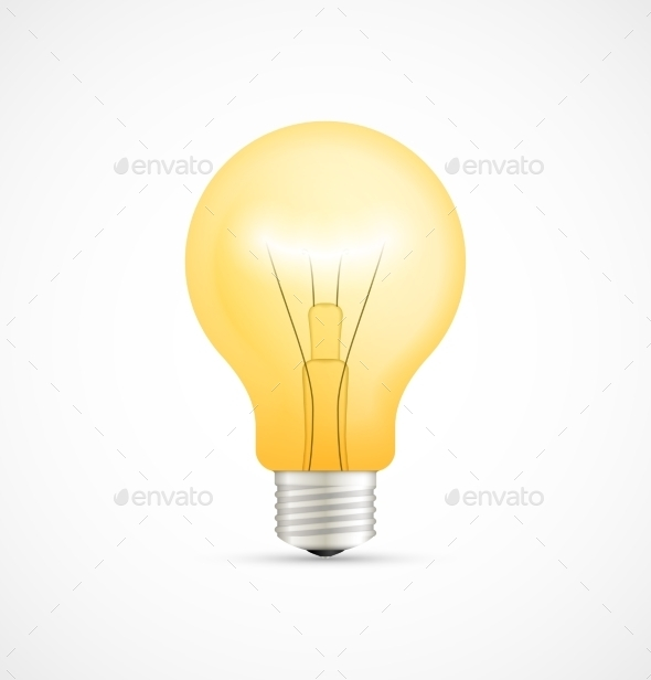 GraphicRiver Realistic Glowing Yellow Light Bulb 9341284