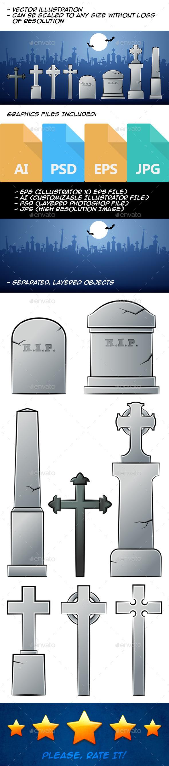 GraphicRiver Cartoon Tombstones 9341640
