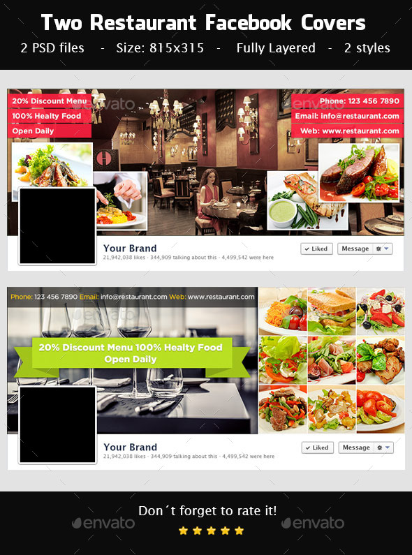 GraphicRiver Restaurant Facebook Covers 9341666