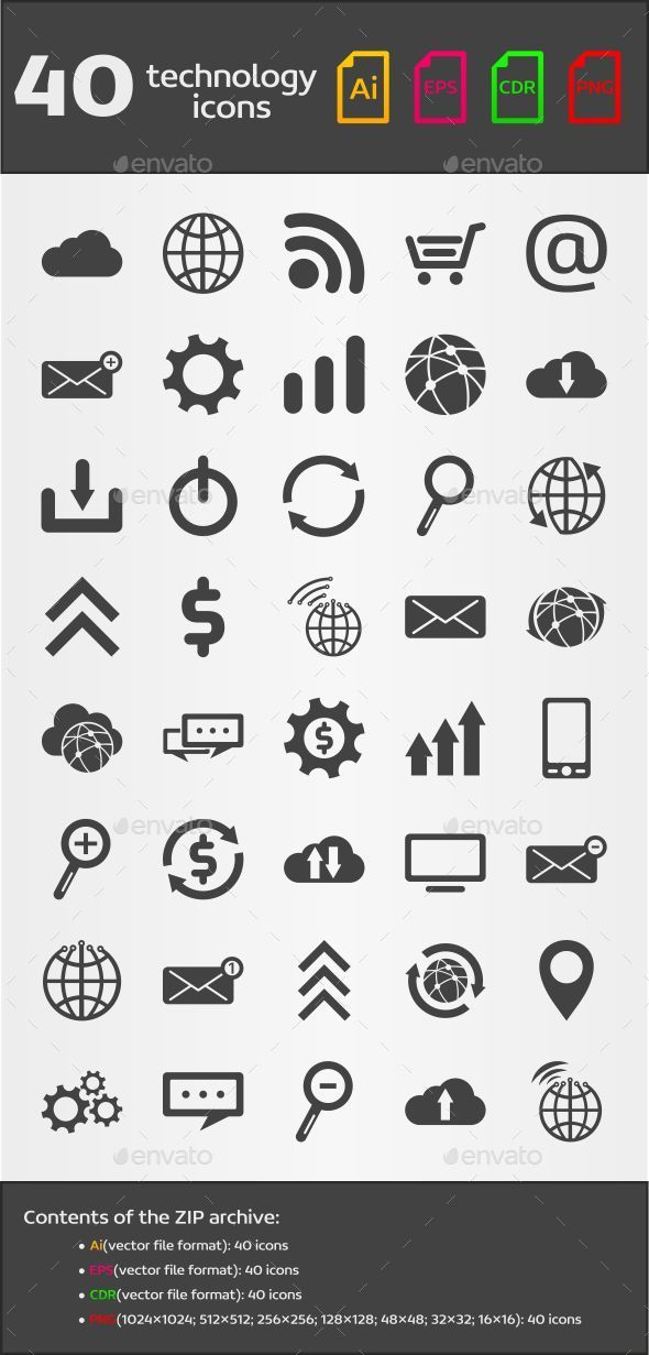 GraphicRiver 40 Technology Icons 9341669