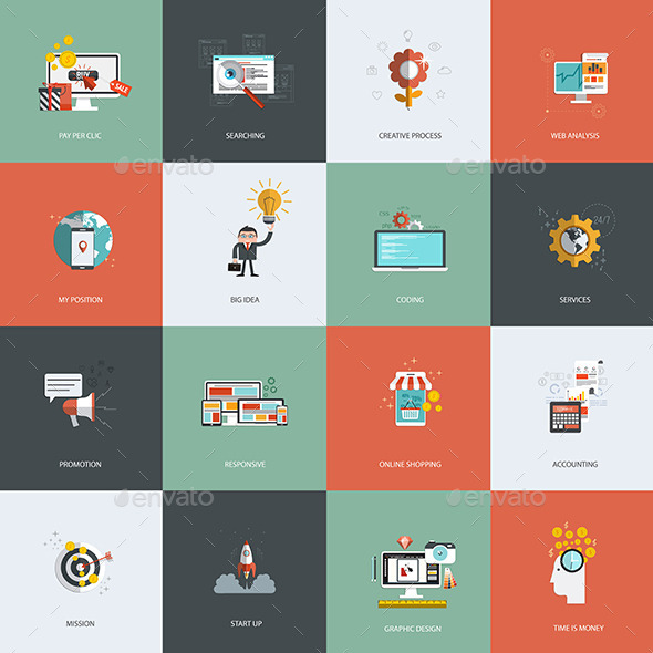 GraphicRiver Set of Flat Design Concept Icon 9341791