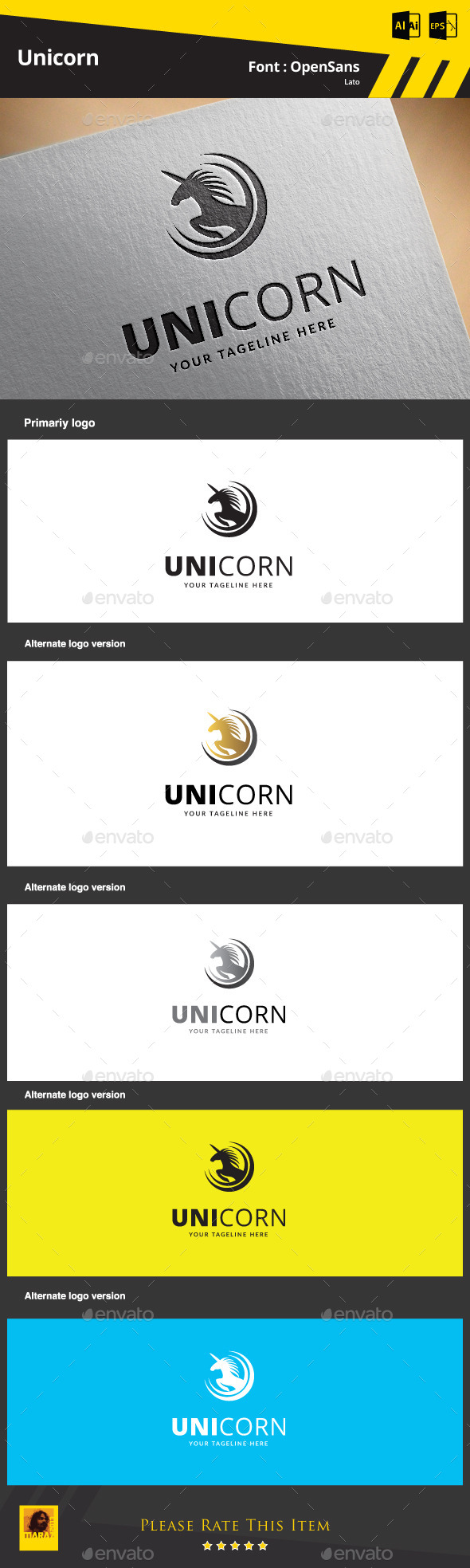 GraphicRiver Unicorn Logo Template 9341819