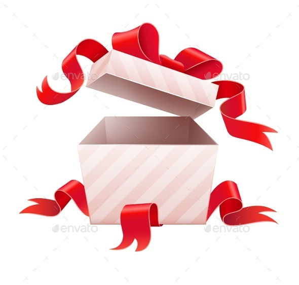 GraphicRiver Open Box with Ribbon For Holiday Gift 9342275