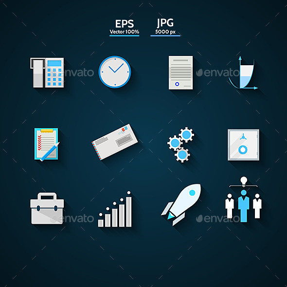 GraphicRiver Flat Icons Colored Collection for Business 9342292