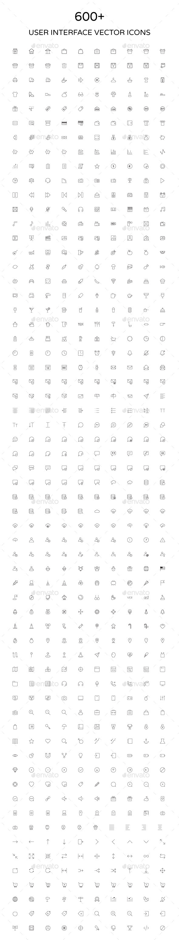 User Interface Outline Vector Icons