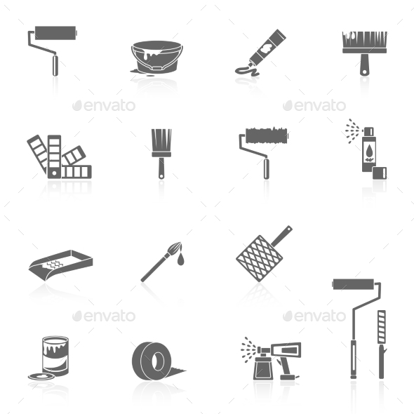 GraphicRiver Painting Icons Black 9342505