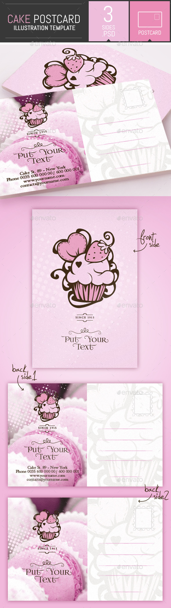 GraphicRiver Cake and Cupcake Business Postcard Template 9342533