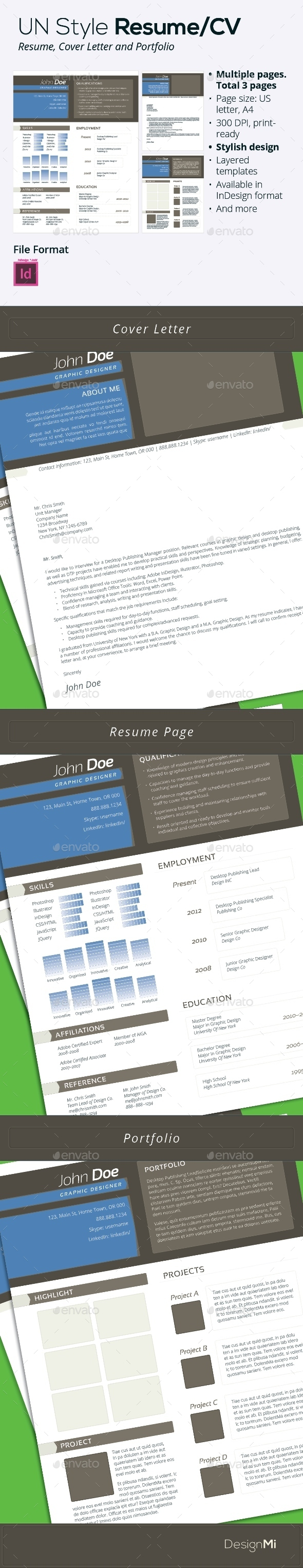 GraphicRiver UN Style Resume CV 3 pages 9342585