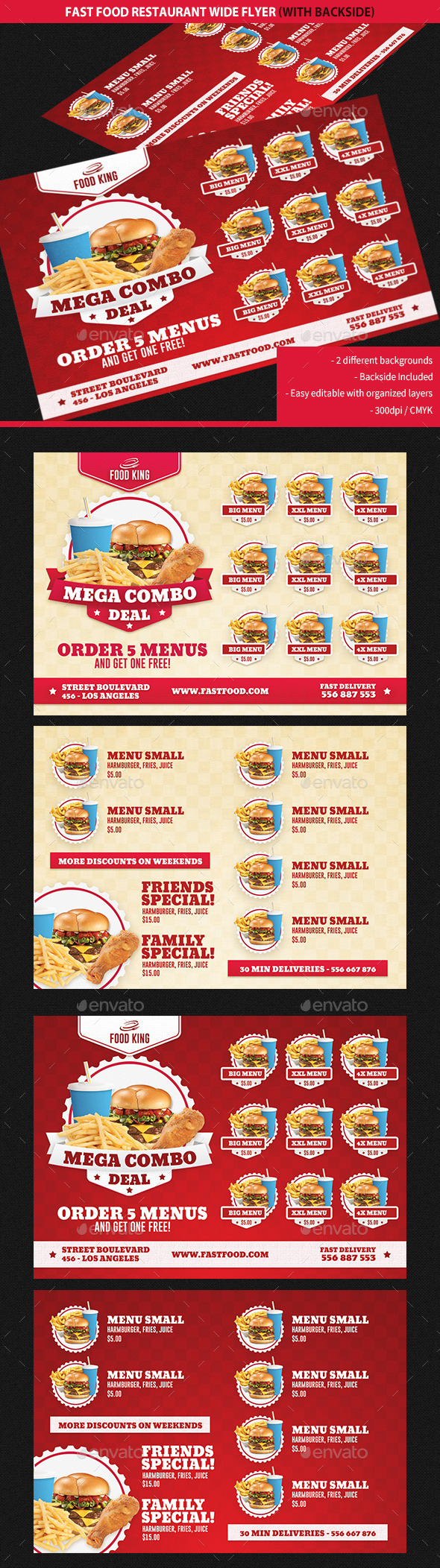 GraphicRiver Restaurant Fast Food Promotions Wide Flyer 9342589