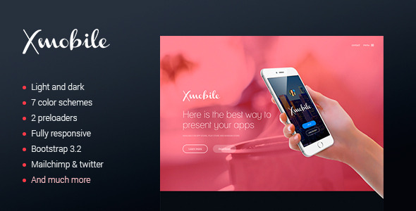ThemeForest Xmobile landing page 9297515