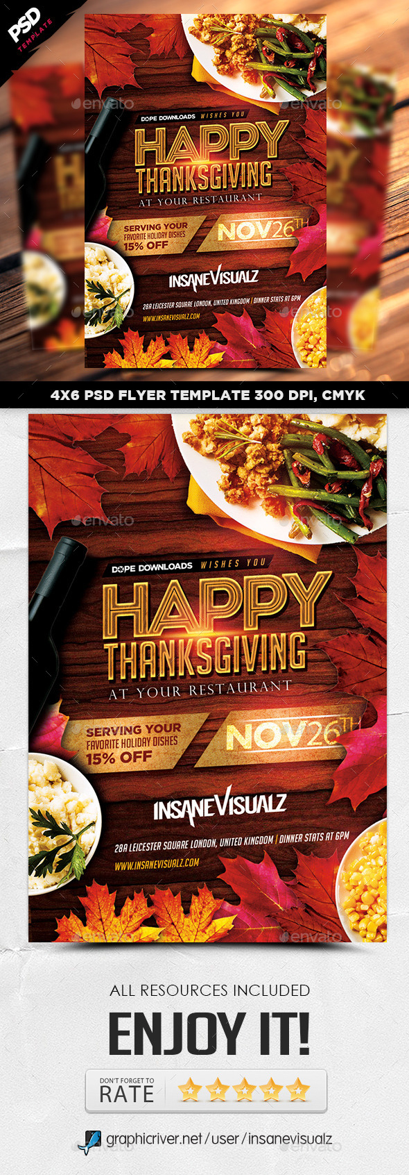 GraphicRiver Happy Thanksgiving Flyer 9289959