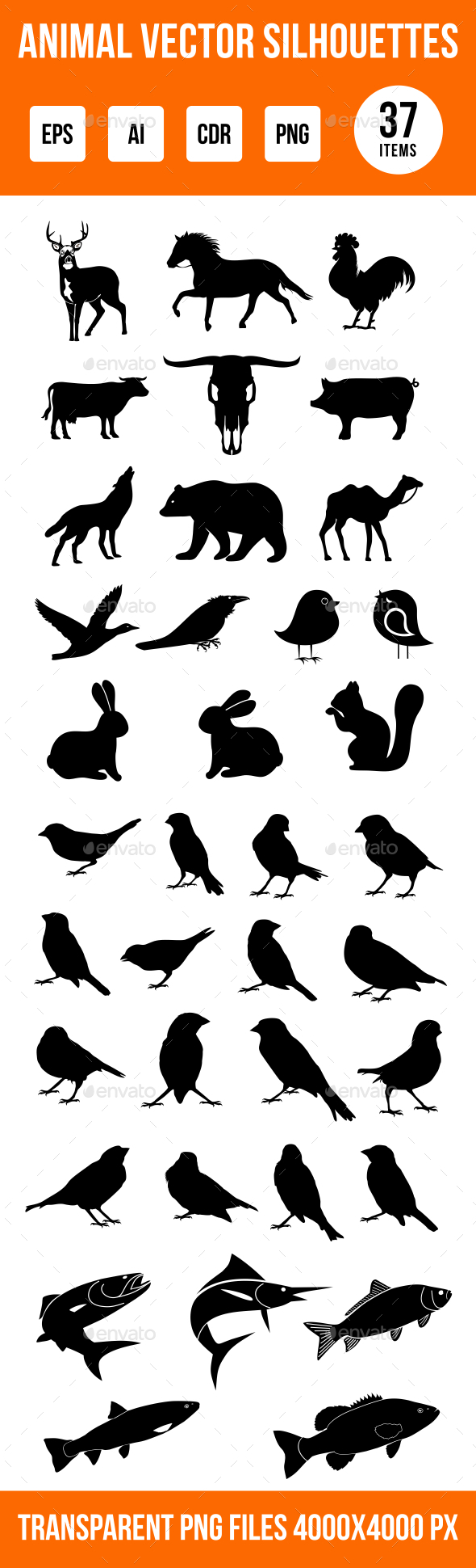 GraphicRiver Animal Silhouettes 9342642