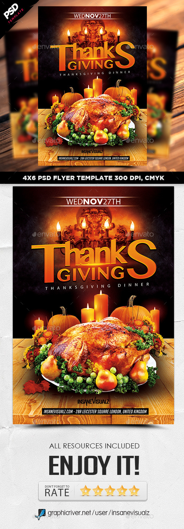 GraphicRiver Thanksgiving Dinner Flyer 9295801