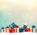 Holiday Christmas background with a border of gift boxes.  - PhotoDune Item for Sale
