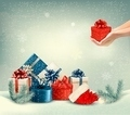 Christmas winter background with presents.  - PhotoDune Item for Sale