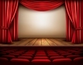 Cinema or theater scene with a curtain.  - PhotoDune Item for Sale