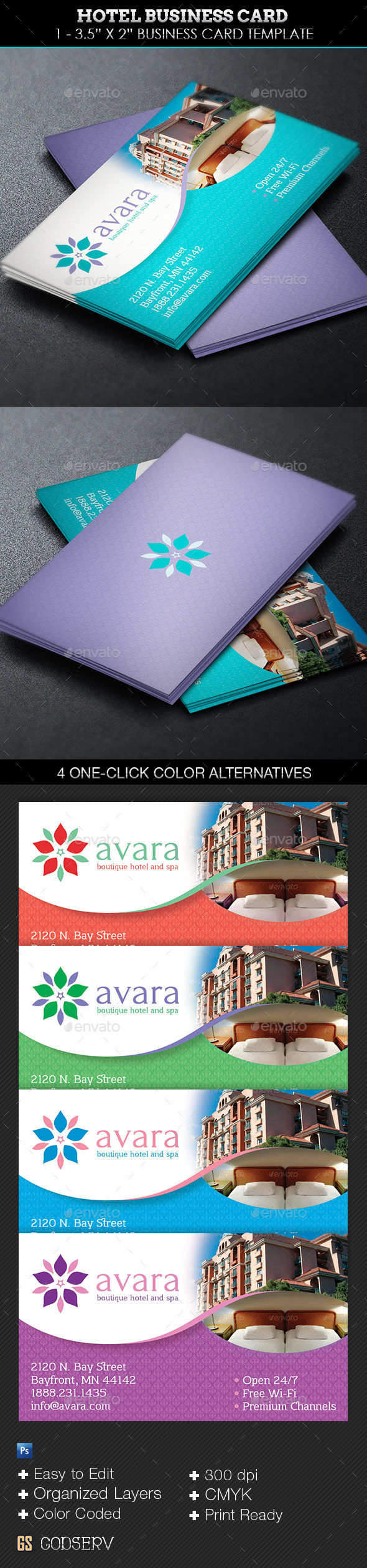 GraphicRiver Hotel Business Card Template 9342764